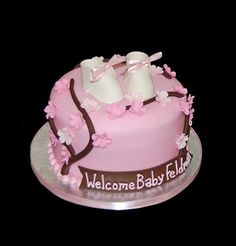 Photo: On the blog: Pink Cherry Blossom Baby Shower Cake: http://simplysweetsaz.blogspot.com/2013/04/pink-cherry-blossom-baby-shower-cake.html