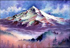 Mount Hood, Oregon - Pacific Northwest Watercolor Landscape Painting Print // Mountain // Mt Hood // Trees // By Michael David Sorensen