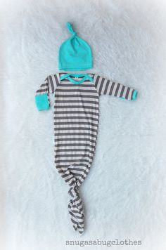 Take home outfit Baby Boy Gown and Hat Infant by SnugAsaBugClothes