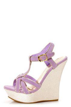 Valera 14 Lavender and Gold T-Strap Platform Wedge Sandals