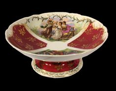 Antique Rare Coburg Dresden China Porcelain Service Bowl cca 1865-1911. On isradeal.com the shipping is always ZERO.