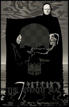 """Det sjunde inseglet"", aka ""The Seventh Seal"", fantasy drama film by Ingmar Bergman (Sweden, Film Poster Design, Movie Poster Art, Poster Designs, Cinema Posters, Film Posters, Bergman Movies, The Seventh Seal, Ingmar Bergman, Alternative Movie Posters"
