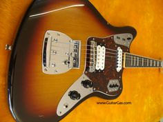 2002 crafted in Japan Fender Jaguar body with a Seymour Duncan Jazz Blues humbucker in the bridge position and a buzz stop bar added to the tremolo.