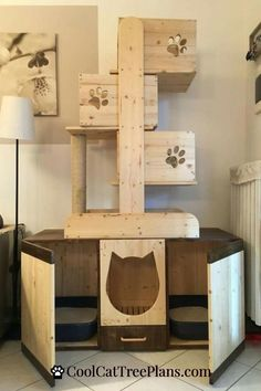 Free cat tree plans and cat furniture ideas to help you build a cool cat room for your kitties to keep them happy, healthy and out of trouble. Diy Litter Box, Hidden Litter Boxes, Kitty Litter Boxes, Enclosed Litter Box, Cat Litter Tray, Cat Tree Plans, Diy Cat Tree, Wooden Cat Tree, Wood Tree