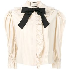 Gucci bow frilled blouse (4.380 RON) ❤ liked on Polyvore featuring tops, blouses, black, frill blouse, pink ruffle blouse, flounce blouse, pink blouse and frill top