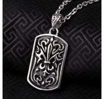 """Men's Sterling Silver France Fleur de lis Tag Pendant Necklace with Sterling Silver Anchor Link Chain 18""""-28"""""""