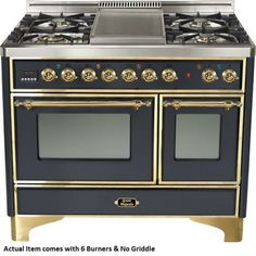 """Images of Ilve UMD-1006DMPM- 40"""" Majestic Dual Fuel Freestanding Range with 2.44 cu. ft. & 1.44 cu. ft. Ovens, Full-Width Warming Drawer, Rotisserie, 6 Burners: Matte Graphite with Brass Trim 