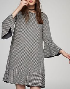 Gingham dress with frills - Dresses - Clothing - Woman - PULL&BEAR Ukraine