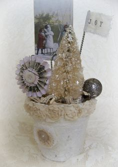 Winter White Decor Handmade  Christmas Peat Pot by QueenBe