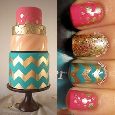 Luster Lacquer: I want to eat my cake, and paint it too! #nails #inspired #chevron #glitter #cake