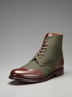 Green and brown boots. Yep.