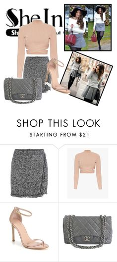 """SHEIN - Grey Skirt"" by zerka-749 ❤ liked on Polyvore featuring Jonathan Simkhai, Stuart Weitzman, Chanel, grey and shein"