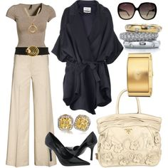 Black, Taupe, Cream & Metallics. Faboo ... yet I'd swap the bag out for something more structured.