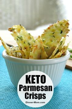 Parmesan Crisps Baked with Zucchini and Carrots Keto Parmesan Crisps are loved by everyone in our house! They quickly bake in the oven and pair with soups, salads, dips and make the perfect low-carb chip. Low Carb Keto, Low Carb Recipes, Diet Recipes, Snack Recipes, Cooking Recipes, Healthy Recipes, Keto Fat, Bread Recipes, Recipies