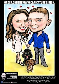 Gift Caricature for a Couple Featuring Pet Dogs! #caricature #gift #dogs caricature couple engagement pet dogs order online #AllanCavanagh #artist #caricatures #dogs #gifts #irishartist #irishmadegifts #ordercaricaturesonline #presents