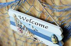 Handcrafted Welcome Hanging Wood Beach Sign - Beachfront Decor