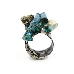 Art Jewelry: Steel wrapped Sterling silver ring, with resin set blue Tourmaline and Peruvian Pyrite Blue Tourmaline, Tourmaline Jewelry, Gemstone Jewelry, Beaded Jewelry, Modern Jewelry, Jewelry Art, Jewelry Rings, Unique Jewelry, Jewellery
