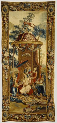 Tapestry: Le Thé de l'impératrice, from L'Histoire de l'empereur de la Chine Series; Beauvais Manufactory (French, founded 1664), Woven under the direction of Philippe Béhagle (French, 1641 - 1705), After designs by Jean-Baptiste Monnoyer (French, 1636 - 1699), et al; France; about 1697 - 1705; Wool and silk; 419.1 x 190.5 cm (165 x 75 in.); 89.DD.62