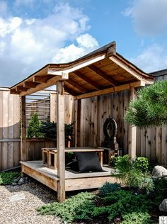 The property my home sits on has had essentially no landscaping done in the 80 years it has existe. Japanese Garden Backyard, Hot Tub Garden, Asian Garden, Japanese Garden Design, Japanese Gardens, Cabana, Garden Huts, Japanese Style House, Shed To Tiny House