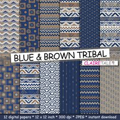 """Tribal digital paper: """"BLUE & BROWN TRIBAL"""" with tribal patterns and tribal backgrounds, arrows, feathers, chevrons in blue and brown by ClaireTALE on Etsy"""