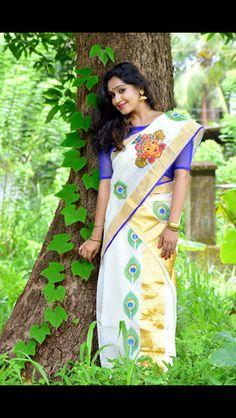 Hand Painted Kerala Mural Set Saree Amazing Gardens, Beautiful Gardens, Saree Painting Designs, Set Saree, Hand Painted Sarees, Blouse Designs, Dress Designs, Paint Shirts, Diy Garden Decor
