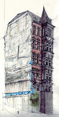 Gaisburgstraße, pencil drawing with water colour by flaf