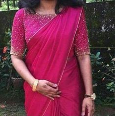 Set Saree, Half Saree Lehenga, Saree Gown, Sari Dress, Pattu Saree Blouse Designs, Fancy Blouse Designs, Shiffon Saree, Saree Wearing, Baby Silhouette