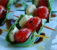skewered caprese - Looks sooo delish...just wished I like tomatoes
