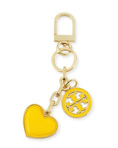 V2UNQ Tory Burch Logo & Heart Charm Key Fob/Bag Charm, Sunbeam