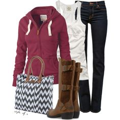 """""""Chevron Bag"""" by styleofe on Polyvore  Looks comfy, but maybe would want different boots. Like all the rest of it, though"""
