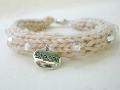 Knit Bracelet in Natural Organic Cotton with by WindyCityKnits