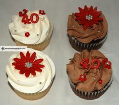 40th anniversary chocolate and vanilla cupcakes