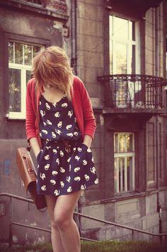 Kitty dress & red cardigan