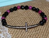 Black and Hot Pink w/ Black Rhinestone Sideways Cross Bracelet for Modern Style, Layering, Teens, Faith, Mother's Day, Easter, & Communion