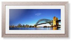 Sydney Harbour Bridge Framed Print, Rustic, Modern, White, White, Single piece, 10 x 24 inches