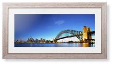 Sydney Harbour Bridge Framed Print, Rustic, Modern, White, White, Single piece, 10 x 24 inches