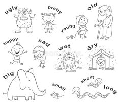 Antonyms Cartoons, Black And White Stock Vector - Image: 54585105