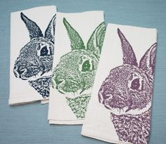 Fuzzy Bunny in Navy - Hand Printed Flour Sack Tea Towel (Unbleached Cotton). $14.00, via Etsy.