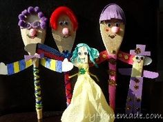 wooden spoon puppets. peter pan theme for us.
