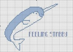 Stabby Narwhal free funny cross stitch pattern