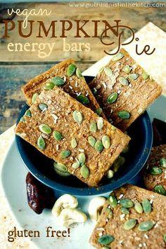 Vegan Pumpkin Energy Bars. Recipe: http://www.nutritionistinthekitch.com/2013/09/21/vegan-pumpkin-pie-energy-bars-gluten-free-protein-addition-optional/