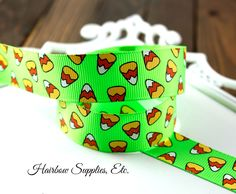 Lime Candy Corn Ribbon 7/8 inch - Halloween Ribbon - Hairbow Supplies, Etc. - Your One Stop Shop for Hair Bow Supplies!