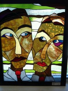 Original Stained Glass Window Panel of Two Men