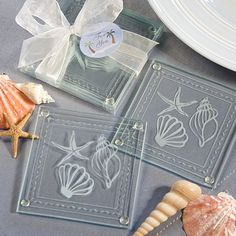 It's easy to add a touch of the ocean's allure to your event with these beach themed glass coaster sets as your favors Elegant and useful, these delightful glass coaster sets will definitely be clear