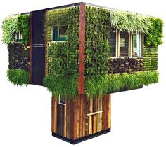 Solar-powered Elevate Structure is wrapped in a living, breathing wall of green