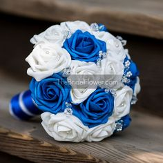 Royal blue wedding bouquet white bridal bouquet by TheBridalFlower