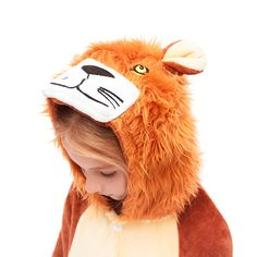 Furry Fleece Girls Brown Lion Hooded Pajamas Sleepwear – alfagoody Adult Onesie Pajamas, Animal Pajamas, Girls Pajamas, Cute Onesies, Animal Costumes, Girl Humor, Animals For Kids, Club Dresses