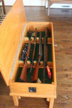 coffee table gun cabinet plans - American homes traditionally aren't complete without living room co. Wooden Pallet Projects, Wooden Pallets, Diy Projects, Wooden Diy, Hidden Gun Storage, Weapon Storage, Gun Cabinet Plans, Hidden Gun Cabinets, Gun Cases