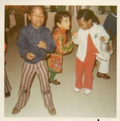 1970's African American children have dance party vintage photo.Boy.Girl