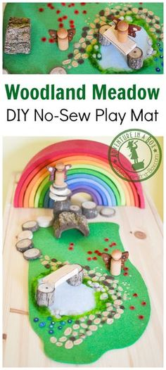 Woodland Meadow DIY No-Sew Felt Play Mat: Use this mat with different natural elements to create an enchanting Waldorf-inspired fairy world in your playroom!